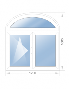 Арочное двустворчатое окно 1200x1600