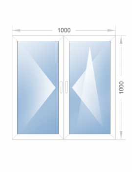 Двустворчатое окно 1000х1000