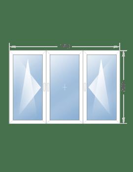 Трехстворчатое окно 1740x1400